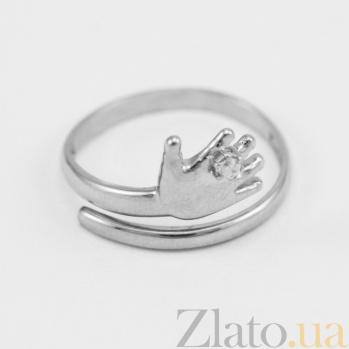Кольцо из белого золота с фианитом Я с тобой VLN--212-1688*