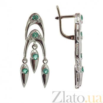 Серебряные серьги с бриллиантами и изумрудами София ZMX--EDE-6184-Ag_K