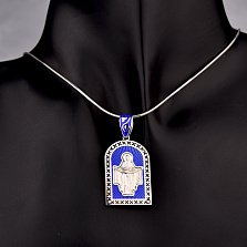 Серебряная ладанка Богородица моли Бога о нас с черной и синей эмалью