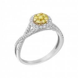 Золотое кольцо Ясмина в комбинированном цвете с белыми бриллиантами и цвета шампань 000119227