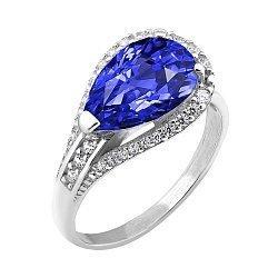 Серебряное родированное кольцо с синим альпинитом и белыми фианитами 000106051