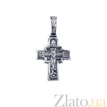 Крест серебряный с чернением Святой оберег AQA--3983-ч