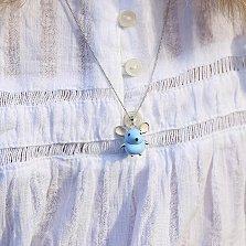Детская серебряная подвеска Мышка с голубой, бежевой и черной эмалью,16х18мм