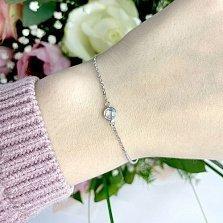 Серебряный браслет Росинка с кристаллом циркония