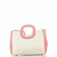 Кожаная деловая сумка Genuine Leather 8652 розово-бежевого цвета с тремя отделениями