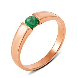 Кольцо из красного золота с изумрудом 000131181