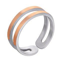 Серебряное разомкнутое кольцо Лавиния с золотыми накладками