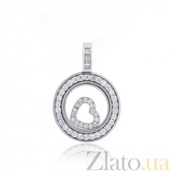 Золотой кулон Роскошное сердце с бриллиантами EDM--П7288/1