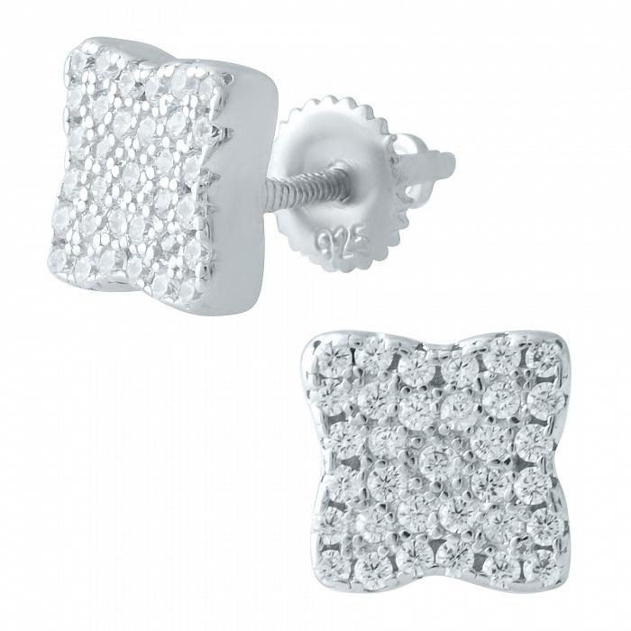 Серебряные серьги-пуссеты Мелани с фианитами 000078027