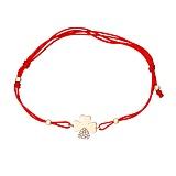 Шелковый браслет Удача в красном золоте с фианитами