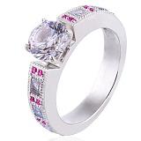Золотое кольцо в белом цвете Виктория с бриллиантами и рубинами