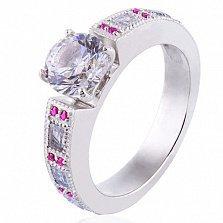 Золотое кольцо в белом цвете Виктория с бриллиантом, рубинами и прозрачными топазами