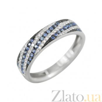 Золотое кольцо с сапфирами и бриллиантами Морской прилив 000026839