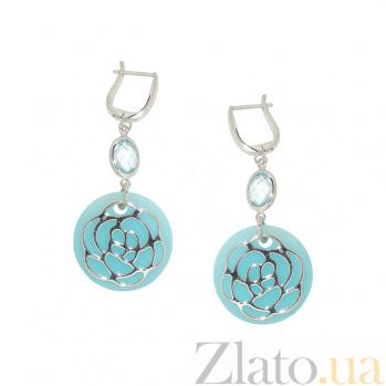 Серебряные серьги с халцедоном и топазами Памела 3С106-0095