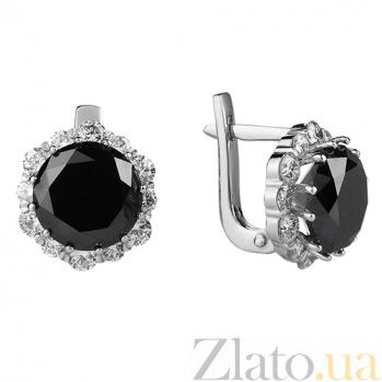 Серьги из белого золота с чёрным цирконием и бриллиантами Нуарина E 0760