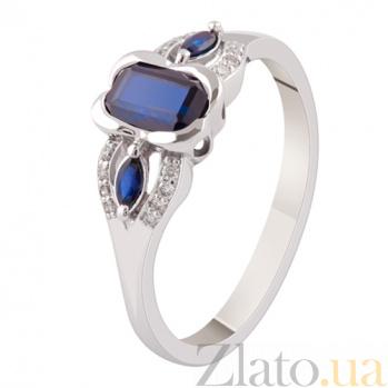 Золотое кольцо с сапфирами и бриллиантами Елизавета KBL--К1865/бел/сапф