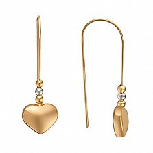 Золотые сережки Нити Сердца в комбинированном цвете металла