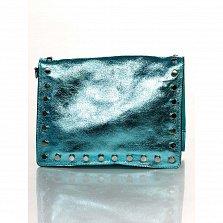 Кожаный клатч Genuine Leather 8928  голубого цвета с магнитом на клапане и плечевым ремнем