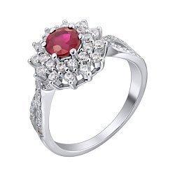 Серебряное кольцо с рубином и фианитами 000140356
