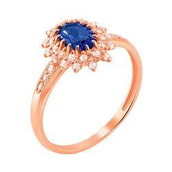 Кольцо из красного золота с сапфиром и фианитами 000135231