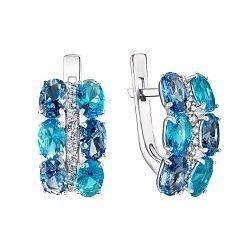 Серебряные серьги Альента с кварцем под лондон топаз, голубым кварцем и фианитами