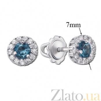 Серебряные серьги-пуссеты с лондон топазами Солнышко 2112/9р л.топаз4