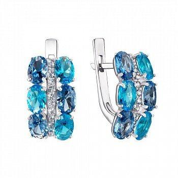 Серебряные серьги с кварцем под лондон топаз, голубым кварцем и фианитами 000063659
