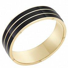 Кольцо в желтом золоте Хозяева ночи с эмалью