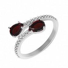 Серебряное кольцо Фламенко с гранатом и фианитами