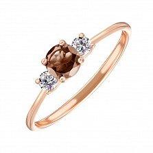Кольцо в красном золоте Романтика с раухтопазом и фианитами