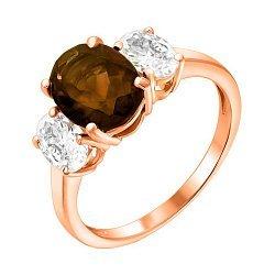 Кольцо из красного золота с раухтопазом и цирконием 000122334