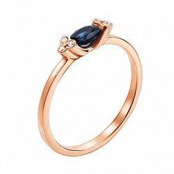 Золотое кольцо Рикарда в красном цвете с бриллиантами и сапфиром