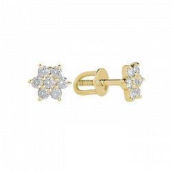 Серьги- пуссеты в желтом золоте Crux с бриллиантами