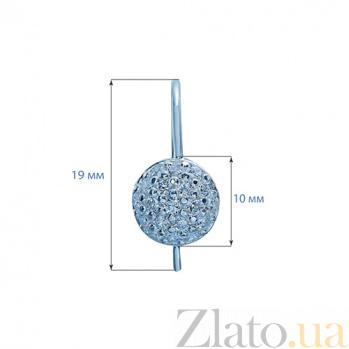 Серебряные серьги с усыпкой цирконов Мерцающий круг AQA-Щ-703732