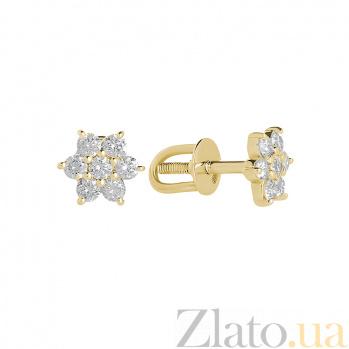 Серьги- пуссеты в желтом золоте Crux с бриллиантами 000079143