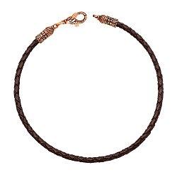 Кожаный браслет Молитва с замочком в форме рыбки из красного золота с чернением