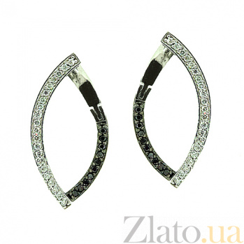 Золотые серьги с чёрными и белыми бриллиантами Андреа ZMX--EDDb-6852w_K
