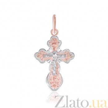 Серебряный крестик Добрая весть с позолотой 000025219