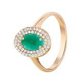Золотое кольцо с зелёным ониксом и цирконием