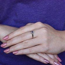 Золотое кольцо Альграна в белом цвете с сапфиром и бриллиантами