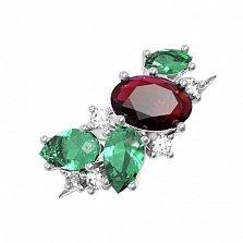 Серебряное кольцо Шейла с гранатом, зеленым кварцем и фианитами
