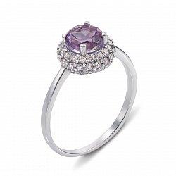 Серебряное кольцо с аметистом и фианитами 000133109