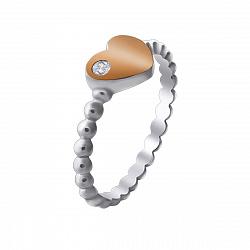 Серебряное кольцо Ада с фактурной шинкой, кристаллом Swarovski и золотой накладкой в форме сердца