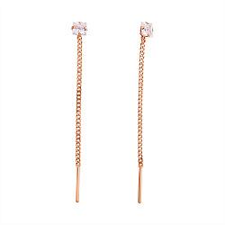 Золотые серьги-протяжки Style с цепочками и белыми фианитами