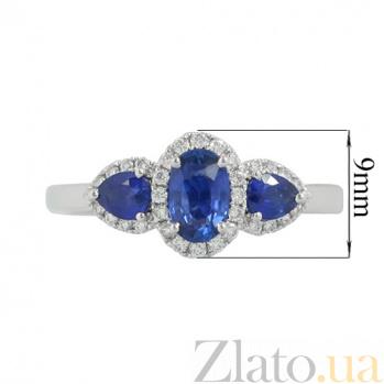 Золотое кольцо с сапфирами и бриллиантами Синие озера 000026822