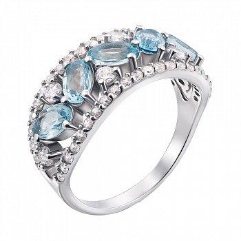 Серебряное кольцо с голубыми топазами и белыми фианитами 000104861