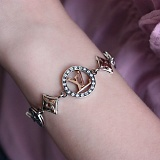 Серебрянный браслет В стиле Луи Виттон с цирконием и позолотой