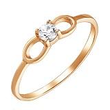 Золотое кольцо Бантик со Swarovski Zirconia