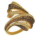 Кольцо из красного золота с фианитами Буря в пустыне