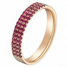 Кольцо Райана в красном золоте с рубинами